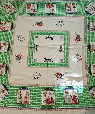 Vintage tablecloth 48 x 48 antiques weathervane  very pretty