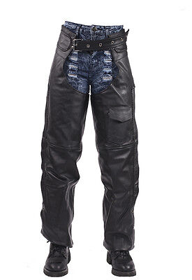 Motorcycle Leather Braided Biker Chaps Mesh Liner Pants Black New -Free Shipping