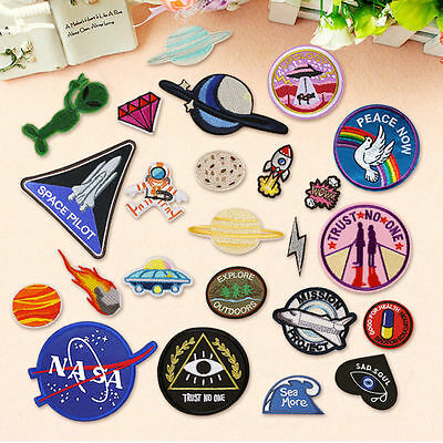 DIY Outer Space  Embroidery Sew On Iron On Patch Badge Bag Fabric Applique Craft
