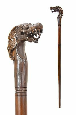 Dragon wooden walking stick / cane - Hand carved from hardwood BOXED item