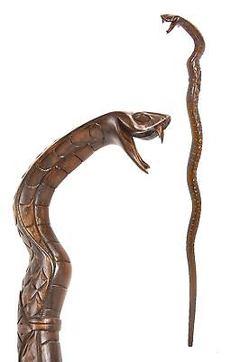 SNAKE walking stick / cane, COBRA - carved from East Indian Rosewood, BOXED item