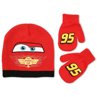 Disney Cars Lightning McQueen Winter Hat and Mitten Set, Toddler Boys, Age 2-4