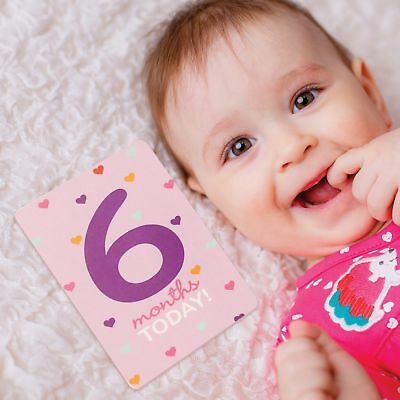 Rising Star Milestone Photo Prop Two Sided Cards Gift Set, Baby Girls, Age 0-12M
