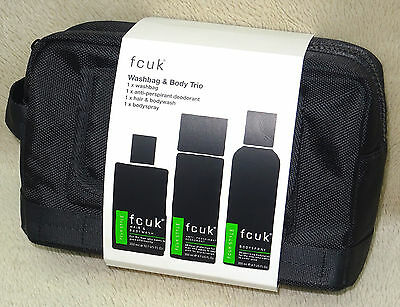 Brand New Fcuk Mens Washbag & Body Trio Gift Set