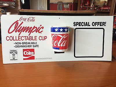 1988 Coca Cola Coke Olympic Collectable Cup and Cardboard Advertisement