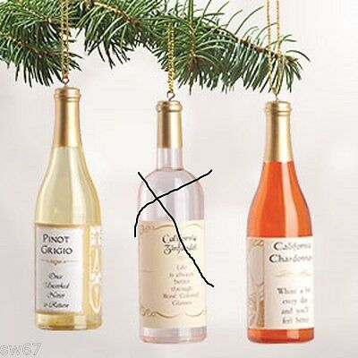WINE BOTTLE ORNAMENTS (SET OF 3) Pinot Grigio, Chardonnay, Gamay Beaujolais New