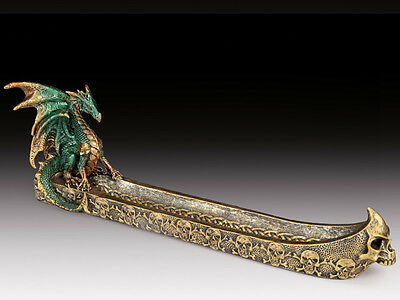"Skulls Green Dragon with Metallic Gold Accents 12"" Incense Burner"