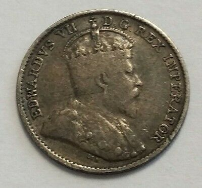 1909 Canada Pointed Leaves 5 Cents 5C World Silver Coin ! Free Shipping!