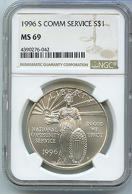 1996-S Community Service Silver Dollar NGC MS 69 - San Francisco Mint - SM89