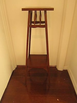 Classic Vintage Tall Wooden Two Tier Pedestal Plinth Plant Stand