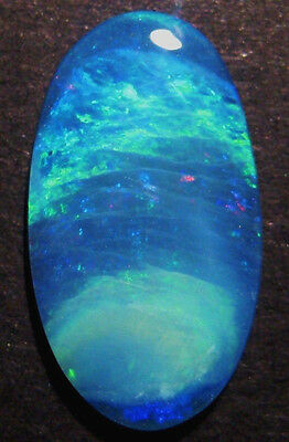 23x13mm Bright Large Australian Opal Doublet, pretty blues and greens (#1731)