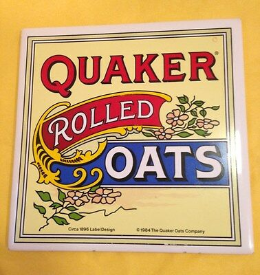 Vintage 1984 Quaker Rolled Oats Wall Mount Tile Country Decor Hot Plate 6 x 6