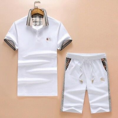 Burberry Simple Design Short Sleeve Men's Polo with Pant White S/M/L/XL/XXLarge