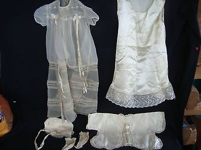 Vintage 1953 Baby Crocheted Satin Lace Long Christening Baptism Gown Dress