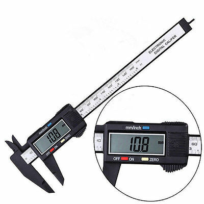 "150MM 6"" LCD Digital Electronic Carbon Fiber Vernier Caliper Gauge Micrometer #w"