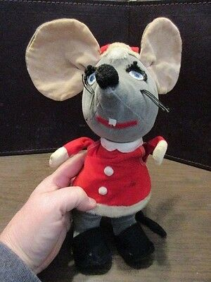 Vintage Christmas Mouse Stuffed Toy Santa Claus Mouse Made In