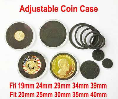 10x Capsules Coin Holders Case box with Adjustable Ring for 19-41mm Small Coins