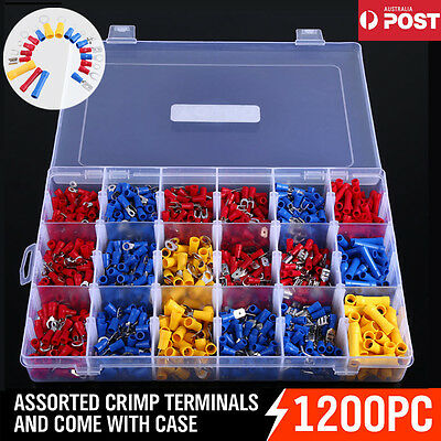 1200PCS Electrical Wire Connector Assorted Insulated Crimp Terminals Spade + Box