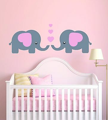 Cute Elephants Baby Girl Vinyl Wall Decal - Baby Nursery Elephant Decor (1519)