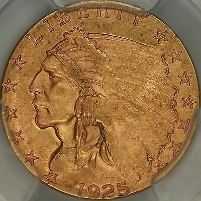 1925-D $2.50 Indian PCGS MS64+ CAC