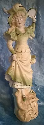 """BEAUTIFUL,ANTIQUE,EARLY 1900's GERMAN?LADY FIGURINE.DANCING WITH TAMBOURINE.12""""H"""