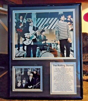 """Vintage Rolling Stones Band Framed Early Days 11"""" x 14"""" Mint"""