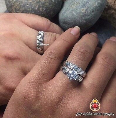 Diamond & 10K White Gold Trio Set Wedding /Engagement Ring For His And Her
