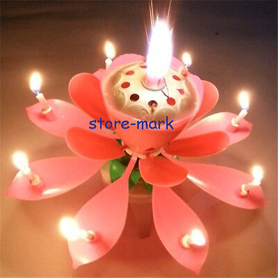 Pink Rotatable Love Beauty Musical Blossom Birthday Candle Lotus Flowers