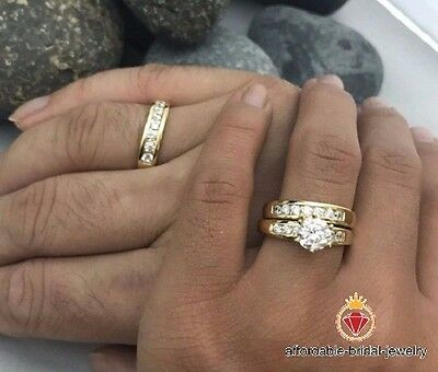Wedding /Engagement Ring For His And Her Diamond & 10K Yellow Gold Trio Set