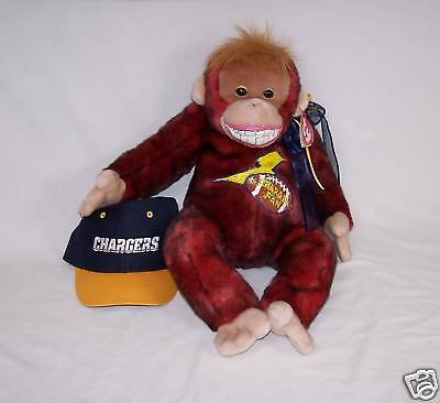 "Charger Fan 20"" Ty Plush Monkey  named Schweetheart Handpainted + Charger Hat"
