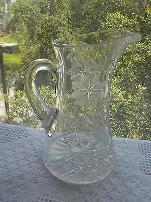 Antique American Brilliant Heavy Glass -Cut Daisy Water Pitcher/tankard