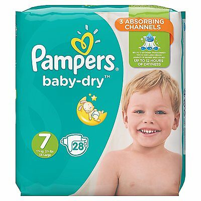 Pampers Baby Dry Nappies Size 7  - XX Large+  17+kg 37+lbs - Pack of 28