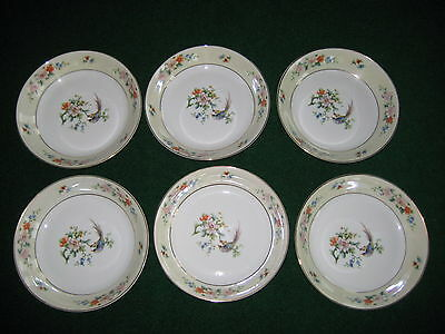 """6 H&C Selb Bavaria Germany Heinrich Songbird cereal soup pasta Bowl 7.5"""" x1 3/8"""""""