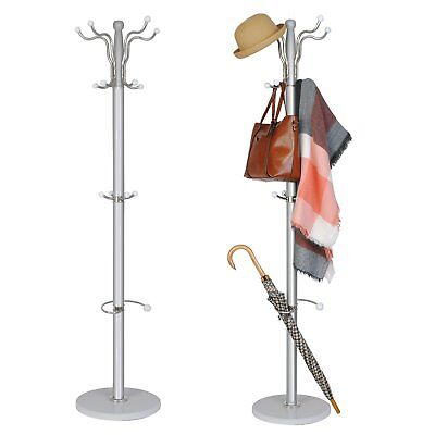 Silver Metal Coat Clothes Hat Umbrella Stand Rack Hanger Marble Base 15 hooks