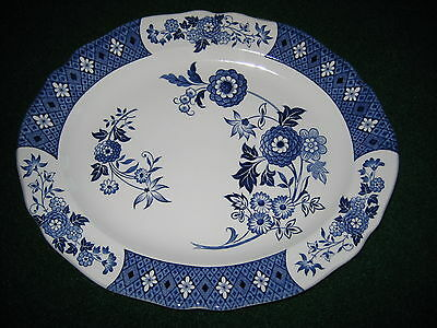 """Royal Staffordshire Cathay Ironstone J&G Meakin England 12"""" Oval Platter Blue wh"""