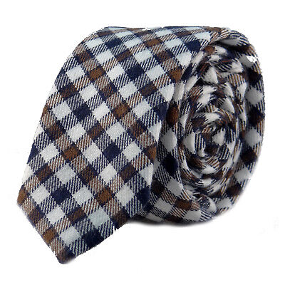 Luxury Gentlemens Country Checked Striped Skinny Tie Woven Wool Style White Blue