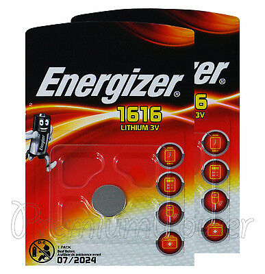 2 x Energizer Lithium CR1616 batteries 3V Coin Cell DL1616 KRC1616 EXP:2024