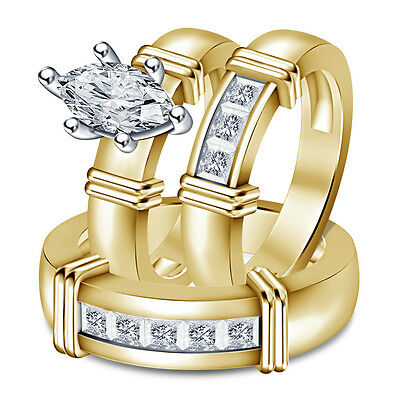 14k Gold 925 Silver Marquise & Princess Diamond His Her Wedding Trio Ring Set