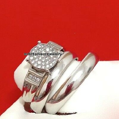 14K White Gold Diamond Wedding Trio His And Her Bridal Band Engagement Ring Set