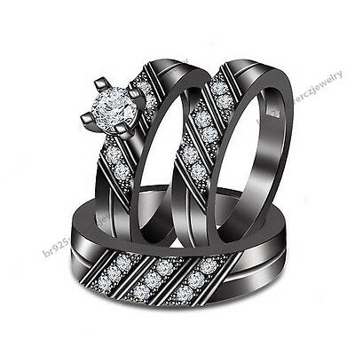 10K Black Gold Over Diamond Solitaire Engagement Ring Wedding Band Trio Ring Set