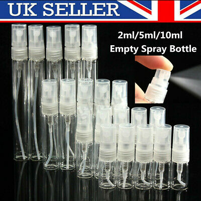 2ml/5ml/10ml Empty Perfume Clear Glass Bottle Spray Atomizer Refillable Travel