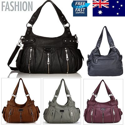 Fashion Women Leather Washed Handbag Shoulder Bag Purse Zipper Satchel Messenger
