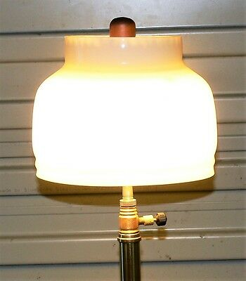 New Tilley table lamp milk glass shade, reproduction, works great.