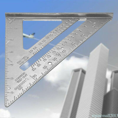 "7"" Rafter Angle Alumium Square Speed Framing Carpenter Builder Ruler Gauge XE4"