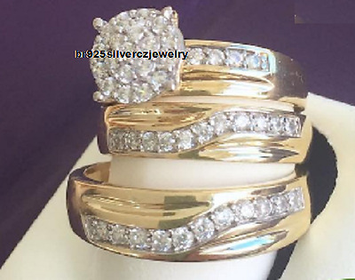 14K Yellow Gold Diamond His Hers Matching Engagement Ring Wedding Band Trio Set
