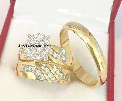 14k Yellow Gold Diamond Trio Set His Hers Matching Engagement Ring Wedding Band