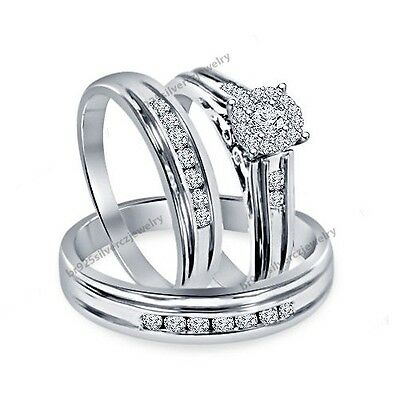 Diamond Trio Set His Her Matching Engagement Ring Wedding Band 10K White Gold FN