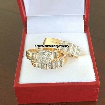 His Hers Engagement Round Cut Diamond Trio Ring Set Band 14k Yellow Gold $899
