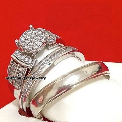 Diamond Wedding His & Her Bridal Band Engagement Ring Trio Set 14K White Gold Fn