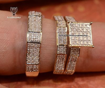 His & Her Diamond Trio Set With 14K Yellow Gold Engagement Ring Wedding Band